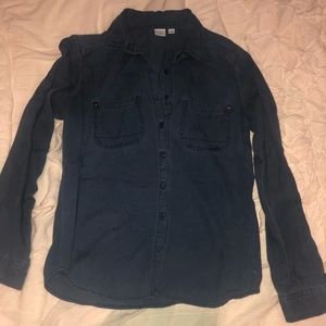 Long Sleeve Button Down Dark Blue